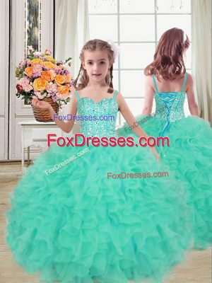 Turquoise Little Girls Pageant Gowns Wedding Party with Beading and Ruffles Straps Sleeveless Lace Up