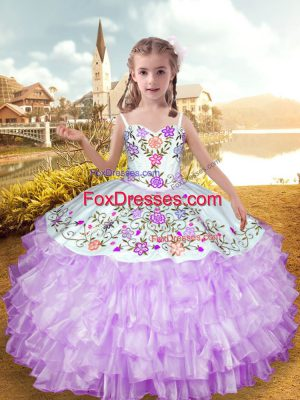 Fashion Lilac Straps Neckline Embroidery and Ruffled Layers Little Girl Pageant Dress Sleeveless Lace Up