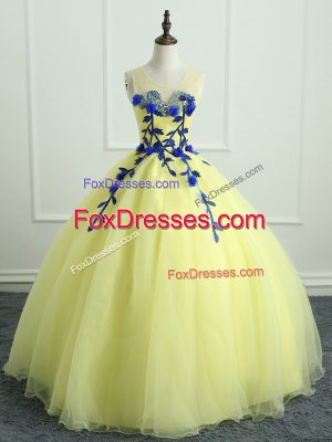 Cute Light Yellow Sleeveless Organza Lace Up Ball Gown Prom Dress for Sweet 16 and Quinceanera