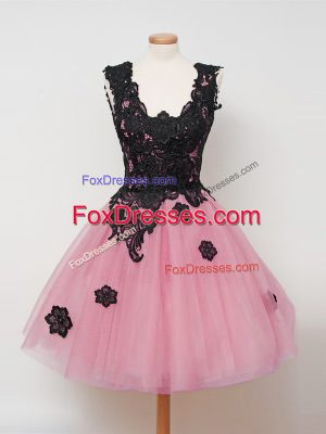 High Quality Tulle Sleeveless Knee Length Quinceanera Dama Dress and Lace