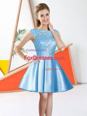 Knee Length A-line Sleeveless Aqua Blue Quinceanera Court of Honor Dress Backless