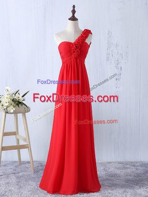 Great Red Sleeveless Hand Made Flower Floor Length Quinceanera Court of Honor Dress