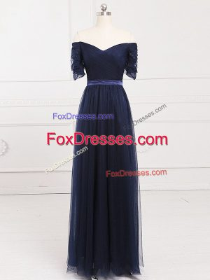 Perfect Navy Blue Empire Ruching Vestidos de Damas Lace Up Tulle Short Sleeves Floor Length