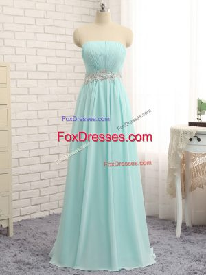 New Style Apple Green Sleeveless Floor Length Appliques and Ruching Zipper Vestidos de Damas