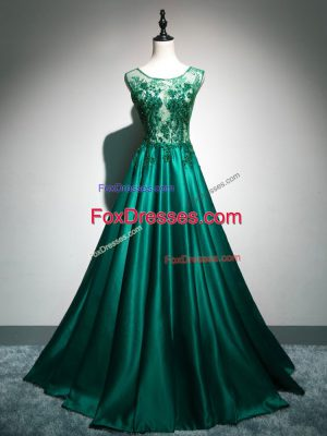 Cheap Dark Green Sleeveless Brush Train Beading and Lace and Appliques and Embroidery Homecoming Dress