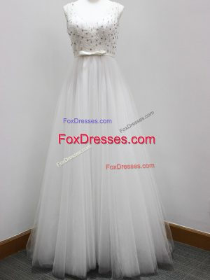 Sleeveless Tulle Brush Train Zipper Bridesmaid Gown in White with Beading and Belt