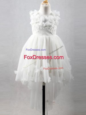 Latest White Scoop Neckline Appliques Flower Girl Dresses for Less Sleeveless Lace Up