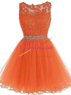 Decent Sleeveless Zipper Mini Length Beading and Ruffles Prom Evening Gown