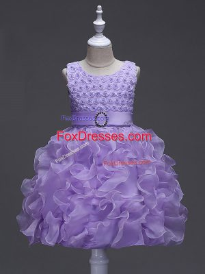 Fashionable Lavender Scoop Neckline Ruffles and Belt Little Girls Pageant Gowns Sleeveless Lace Up