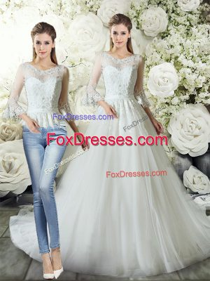 White V-neck Neckline Lace Bridal Gown 3 4 Length Sleeve Zipper