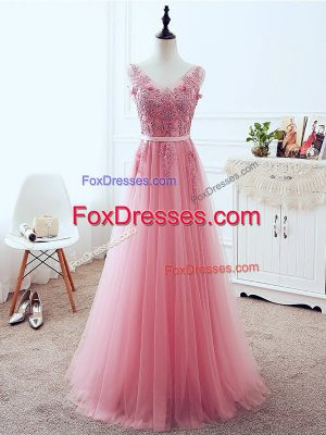 Deluxe Pink Tulle Lace Up Homecoming Dress Sleeveless Floor Length Lace and Appliques and Belt