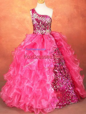 Organza One Shoulder Sleeveless Lace Up Beading and Ruffles and Sequins Pageant Gowns For Girls in Hot Pink