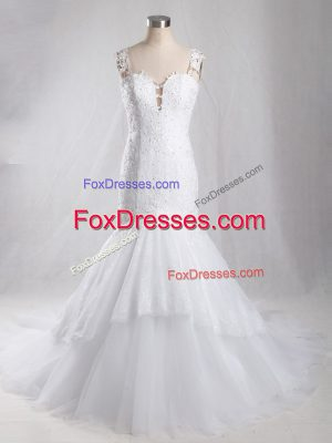 Amazing White Clasp Handle Straps Lace Wedding Gown Tulle Sleeveless Brush Train