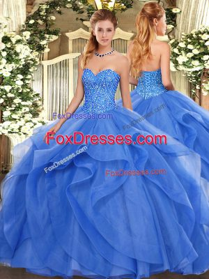 Best Selling Tulle Sweetheart Sleeveless Lace Up Beading and Ruffles Quince Ball Gowns in Blue