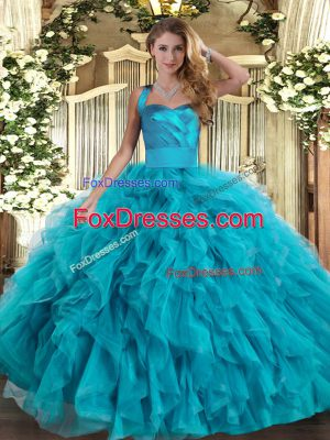 Flare Sleeveless Ruffles Lace Up Quince Ball Gowns