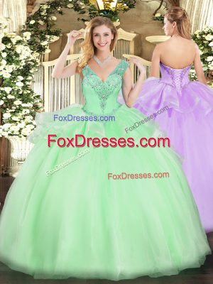Apple Green Lace Up V-neck Beading 15 Quinceanera Dress Tulle Sleeveless