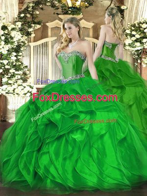Superior Floor Length Ball Gowns Sleeveless Green Quince Ball Gowns Lace Up