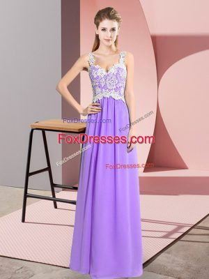 Flirting Lavender Prom Party Dress Prom and Party with Lace V-neck Sleeveless Zipper
