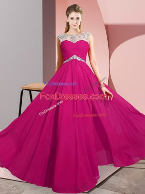 Elegant Fuchsia Sleeveless Beading Floor Length Prom Dresses