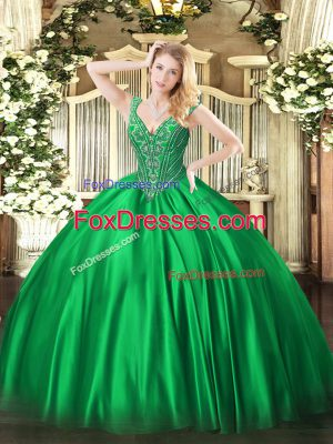 Dazzling Green Sleeveless Satin Lace Up 15th Birthday Dress for Military Ball and Sweet 16 and Quinceanera