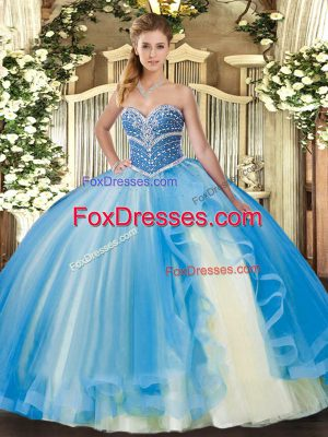 Stunning Baby Blue Sweetheart Lace Up Beading and Ruffles Quinceanera Dresses Sleeveless