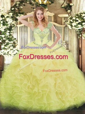 Elegant Yellow Sleeveless Floor Length Beading and Ruffles and Pick Ups Lace Up Ball Gown Prom Dress