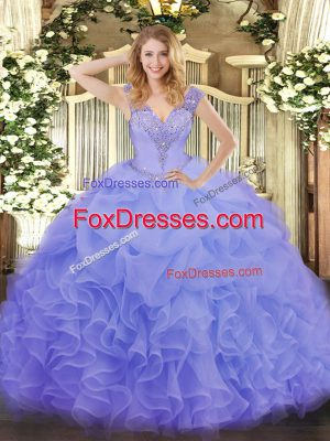 Decent Lavender Sleeveless Ruffles Floor Length Quince Ball Gowns