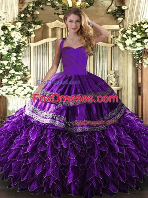 Edgy Purple Organza Lace Up Halter Top Sleeveless Floor Length Quinceanera Gowns Embroidery and Ruffles