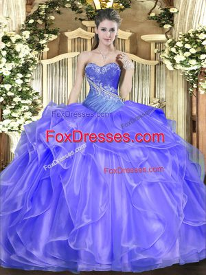 Beading and Ruffles Sweet 16 Dress Blue Lace Up Sleeveless Floor Length