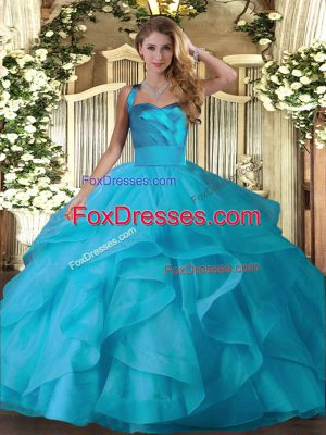 Best Halter Top Sleeveless Lace Up Quince Ball Gowns Baby Blue Tulle