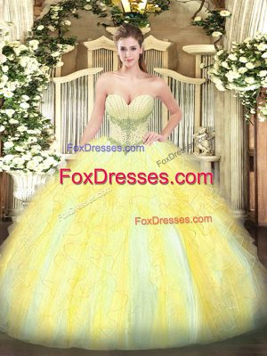 Sleeveless Floor Length Beading and Ruffles Lace Up Quinceanera Dress with Gold