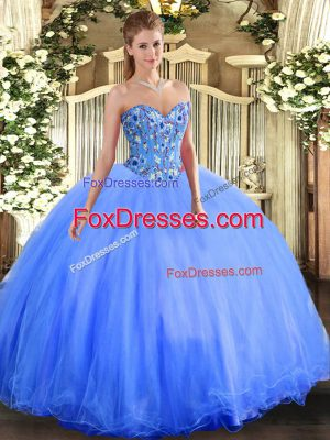 Elegant Blue Lace Up Vestidos de Quinceanera Embroidery Sleeveless Floor Length