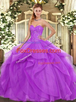 Floor Length Lilac Quinceanera Dresses Sweetheart Sleeveless Lace Up