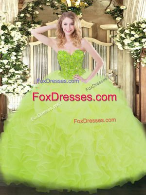 Wonderful Sleeveless Organza Floor Length Lace Up Ball Gown Prom Dress in Yellow Green with Ruffles
