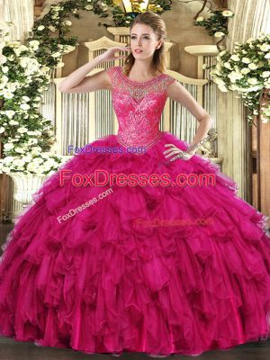 Fantastic Fuchsia Organza Lace Up Ball Gown Prom Dress Sleeveless Floor Length Beading and Ruffles