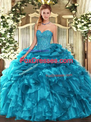 Exceptional Sweetheart Sleeveless Organza 15th Birthday Dress Beading and Ruffles and Pick Ups Lace Up