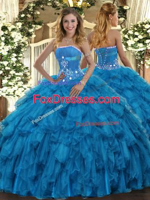 Perfect Baby Blue Lace Up Sweet 16 Dresses Beading and Ruffles Sleeveless Floor Length