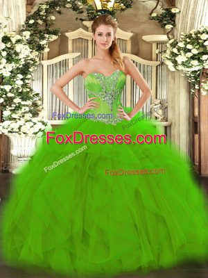 Elegant Green Quinceanera Dress Sweet 16 and Quinceanera with Beading and Ruffles Sweetheart Sleeveless Lace Up