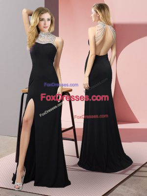 Perfect Black High-neck Neckline Beading Sleeveless Backless