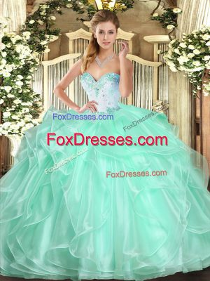 Sleeveless Organza Floor Length Lace Up 15 Quinceanera Dress in Apple Green with Beading and Ruffles
