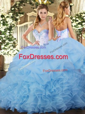Sleeveless Lace Up Beading and Ruffles and Pick Ups Quinceanera Gowns