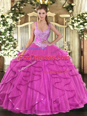 Fantastic Fuchsia Straps Neckline Beading and Ruffles Quinceanera Dresses Sleeveless Lace Up
