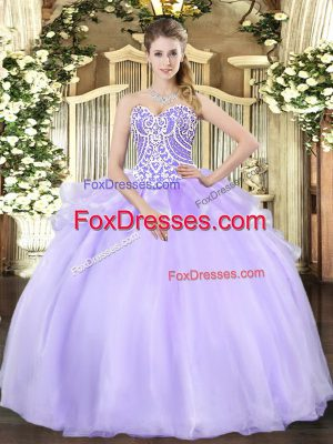 Sleeveless Organza Floor Length Lace Up Sweet 16 Dresses in Lavender with Beading