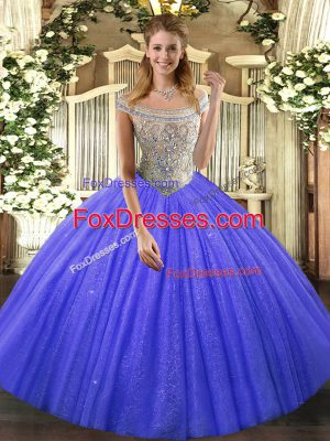 Sleeveless Floor Length Beading Lace Up Quince Ball Gowns with Blue