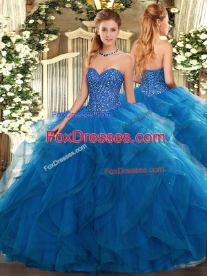 Blue Sweetheart Neckline Beading and Ruffles Quinceanera Dress Sleeveless Lace Up