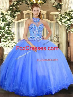 Blue Sleeveless Embroidery Floor Length Quince Ball Gowns