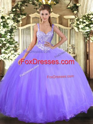 Lavender Ball Gowns Beading Sweet 16 Dresses Lace Up Tulle Sleeveless Floor Length