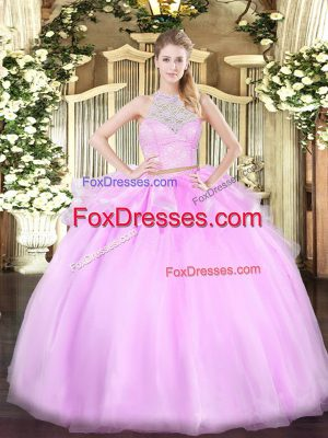 Suitable Tulle Sleeveless Floor Length Sweet 16 Dress and Lace