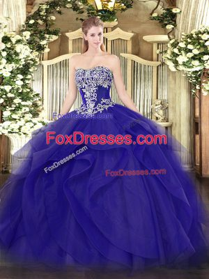 Sexy Blue Sleeveless Beading and Ruffles Floor Length Quinceanera Gown