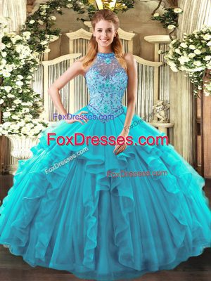 Teal Organza Lace Up Halter Top Sleeveless Floor Length Sweet 16 Dresses Beading and Ruffles